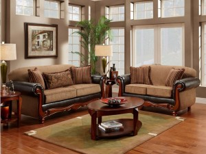 Leather furniture with wood