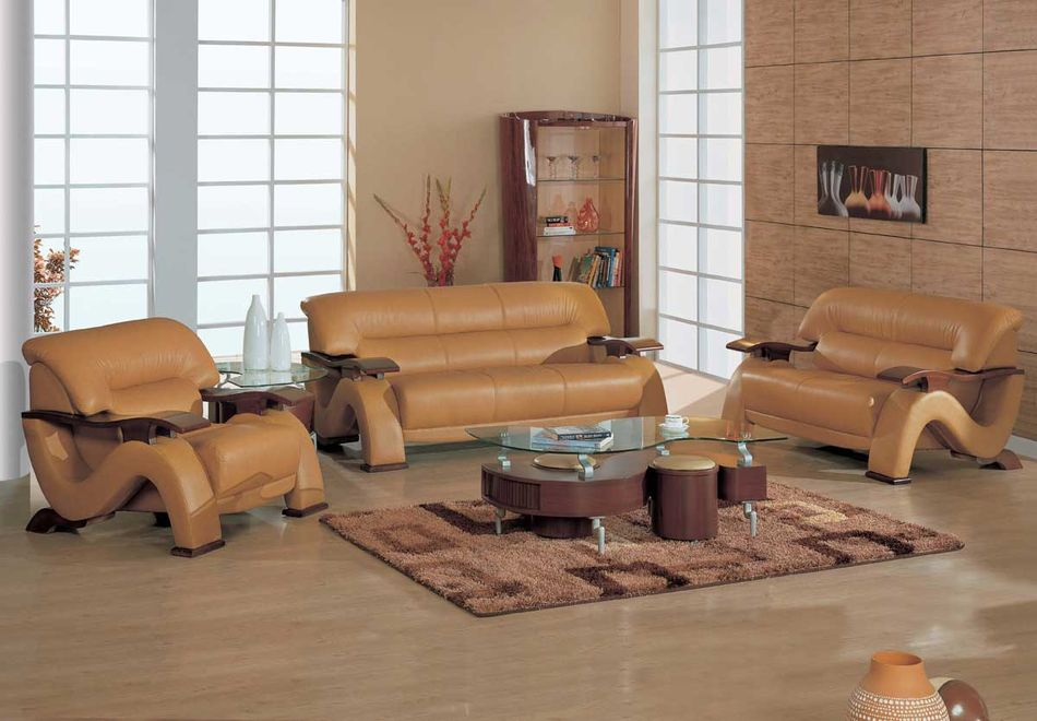 Leather wood furniture