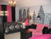 Modern pink black room