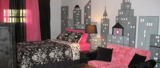 Contemporary Pink And Black Room Design For Girls House Decoration Ideas