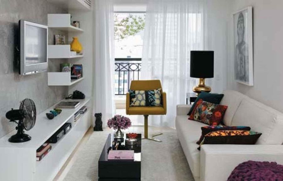 Decorating ideas for narrow living rooms by furniture - How decorate small apartment ...