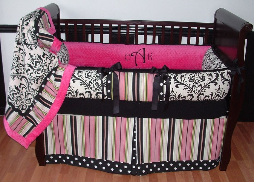 Pink black baby room