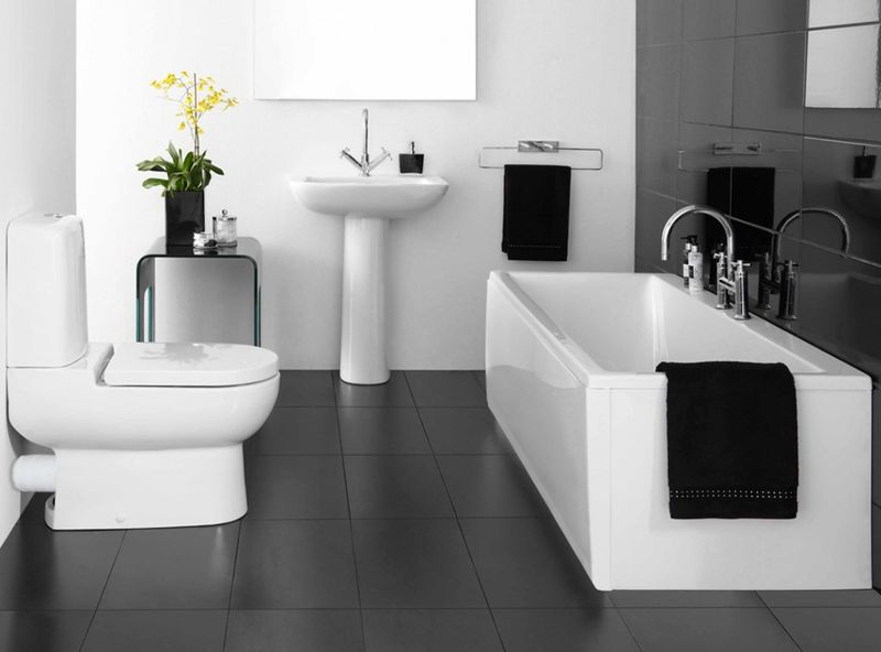 stylish black white bathroom