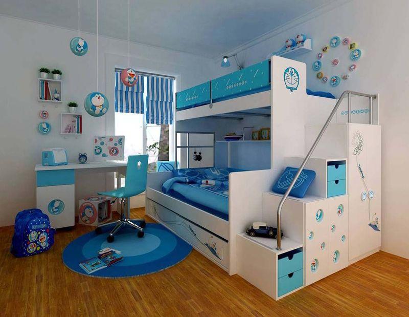 Blue toddler bunk bed