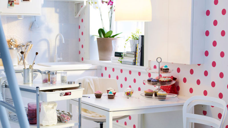 Kitchen wallpaper with dots