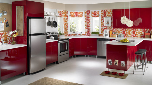 Red kitchen wallpaper