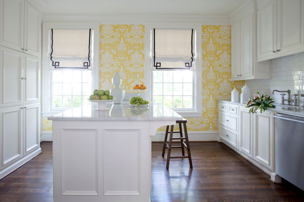 Yellow kitchen wallpaper