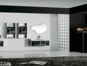 Black white bathroom interior design