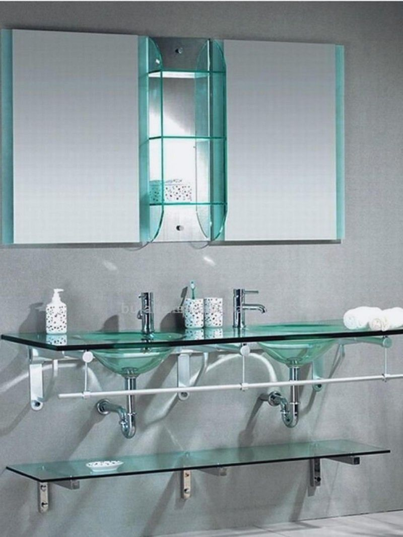 What to choose for bathroom shelves wooden or glass for Bathroom glass shelves