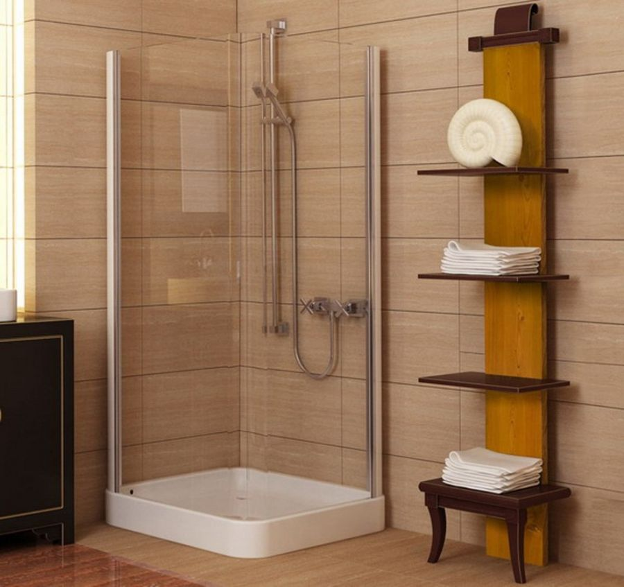 Wooden bathroom shelves design